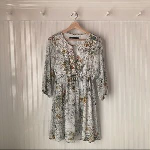 ZARA White Floral Summer Dress
